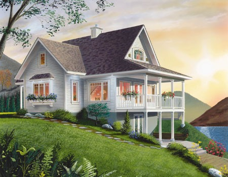 Lake house plans Vacation house plans sloped lot
