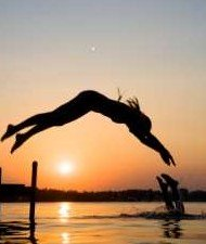 Diving at Sunset